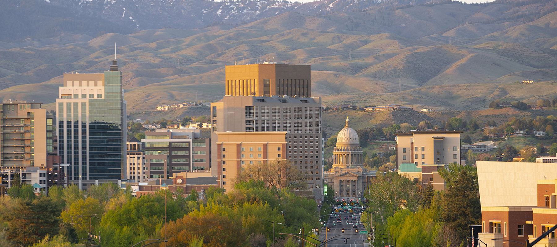 Downtown Boise skyline and foothills at dusk